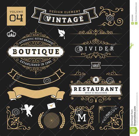 vintage classic design label elements set of retro vintage graphic design elements stock vector