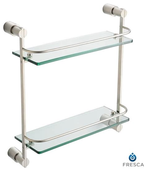 Glass Bathroom Shelves Brushed Nickel Fresca Magnifico 2 Tier Glass Shelf Brushed Nickel Modern Display And Wall Shelves By