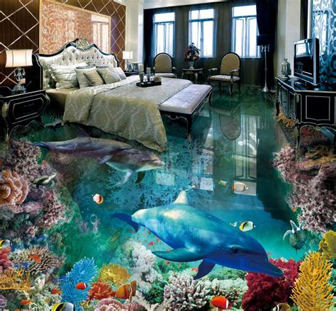 3d floor painting wallpaper underwater world mermaid 3d floor pvc 3d floor tiles custom wallpaper living room floor the