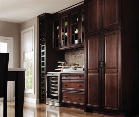 Dark Cherry Kitchen With Glass Cabinet Doors Decora Glass Doors Kitchen Cabinets