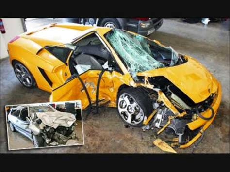 smashed lamborghini expensive lamborghini crash totaled