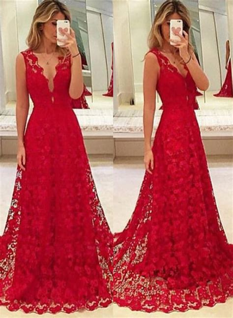A Line Red V Neck Lace 2017 Prom Dresses Latest Sweep