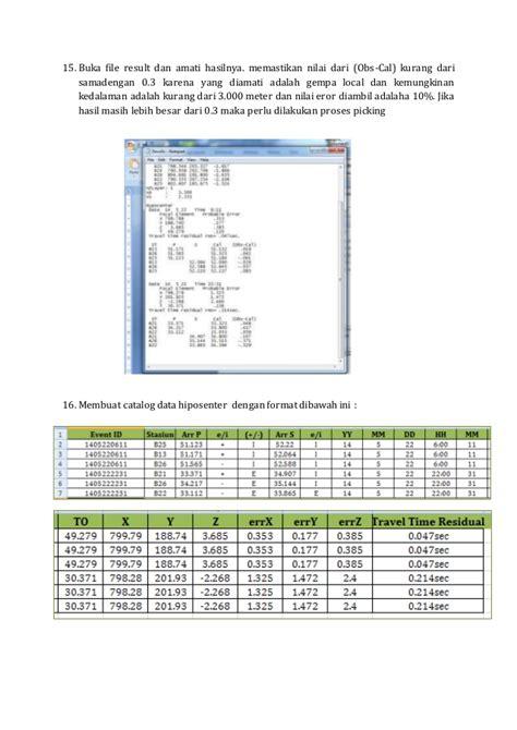 format stasiun adalah langkah langkah picking gelombang p dan s dengan