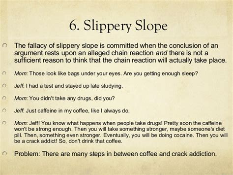 slipper slope fallacy fallacy review