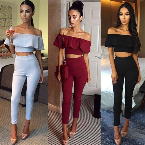 Set Toppants N0489 aliexpress buy fashion femme 2 set top