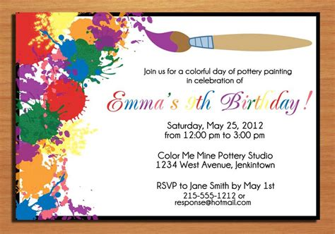 birthday invitation cards templates painting artist customized printable by sapphiredigitalworks
