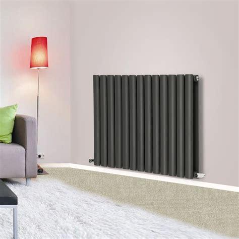 horizontal oval column flat panel designer radiators white