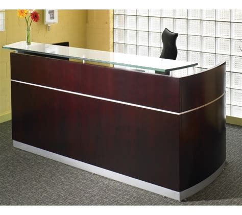 Buy Reception Desk Mayline Wood Veneer Napoli Mahogany Reception Desk W Frosted Glass Counter Contemporary