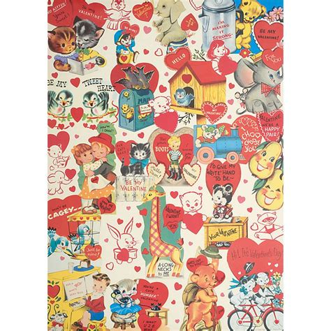 valentines wrapping paper vintage retro wrap affiche