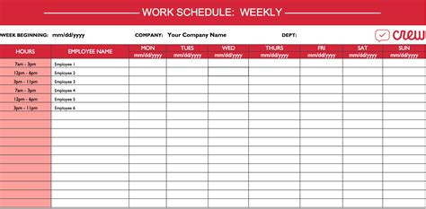 Weekly Work Schedule Template I Crew Work Calendar Template