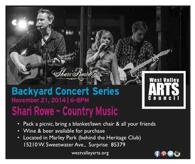 backyard concert series west valley arts council outdoor concert series marley park