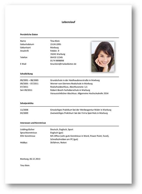Lichtbild Auf Lebenslauf Oder Bewerbung Schreiben Lebenslauf Praktikum Sch 252 Ler Yournjwebmaster