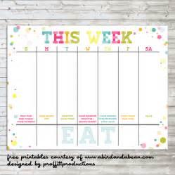 Colorful weekly calendar free printable