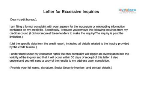 Letter Of Explanation For A Credit Inquiry Credit Repair Sle Letters Lovetoknow