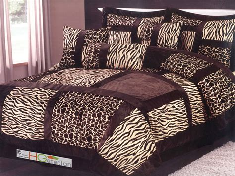 african comforter set 7 pc african safari patchwork fur comforter set giraffe