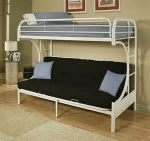 Metal Bunk Bed With Futon White Metal C Shape Futon Bunk Bed With Ladder
