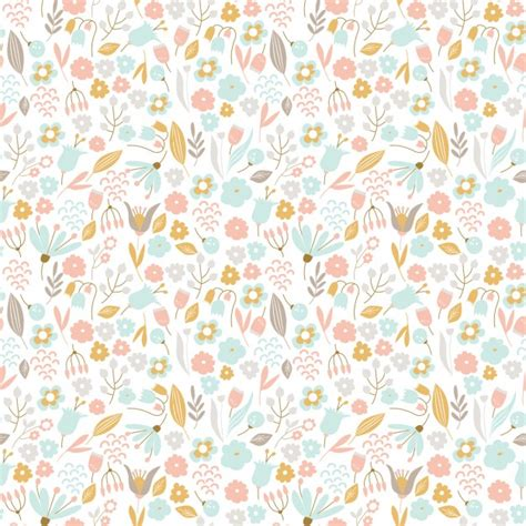 vector pattern pastel free hand drawn floral pattern in pastel colors vector free