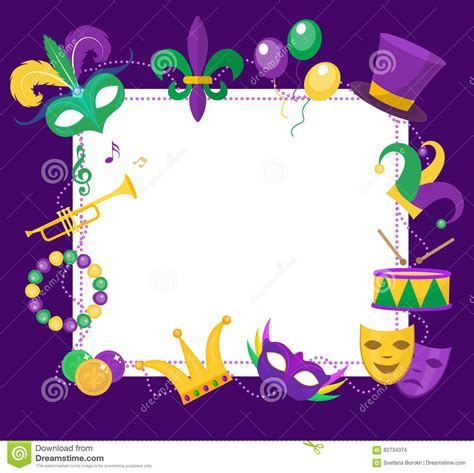 mardi gras frame template with space for text carnival