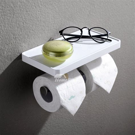 modern white toilet paper holder  shelf bathroom