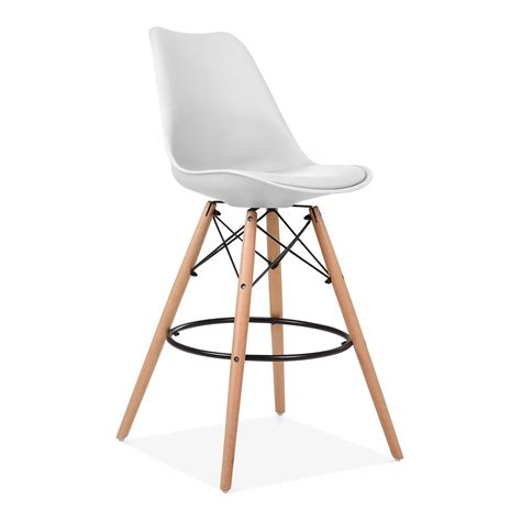 bar stools wooden legs white 65cm bar stool with eames style leg counter height
