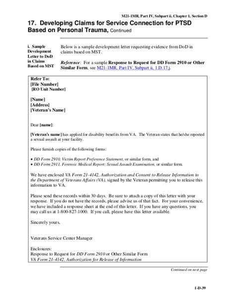 Va Statement Of Service Letter Exle Mst And Ptsd M21 1mriv Ii 1 Secd