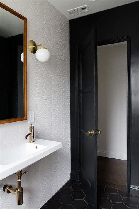 black tile paint for bathrooms white porcelain herringbone tiles design decor photos