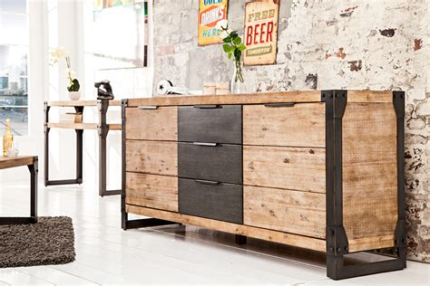 kommode industrial look massives sideboard factory 180cm akazie teakgrau wei 223