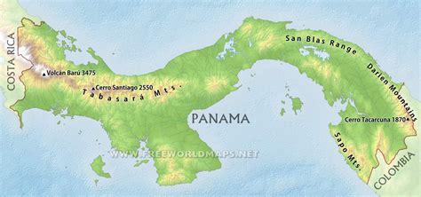 physical map of panama panama physical map