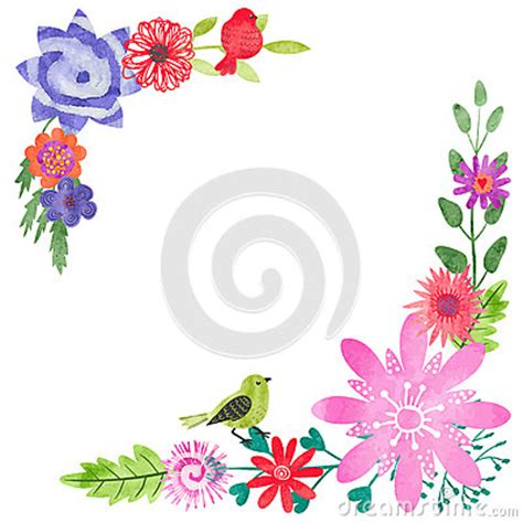 flower design greeting cards watercolor floral corner composition stock vector image