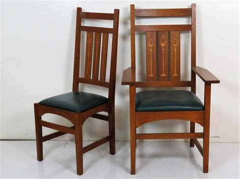 six stickley inlaid oak dining chairs for sale at 1stdibs