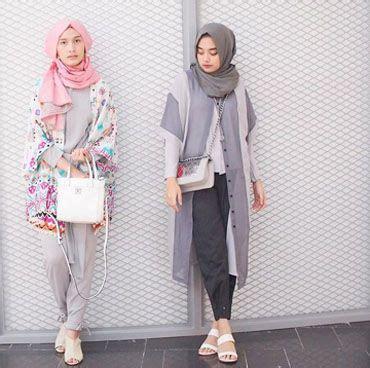 Baju Muslim Zaharaa 2 Pieces memadupadankan outerwear lengan pendek yang populer