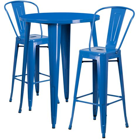 Outdoor Bar Table And Stools 30 Blue Metal Indoor Outdoor Bar Table Set With 2 Cafe Stools Ch 51090bh 2 30cafe Bl Gg