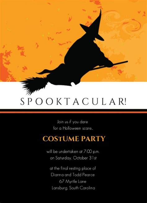costume invitation templates free witch broom spooktacular costume
