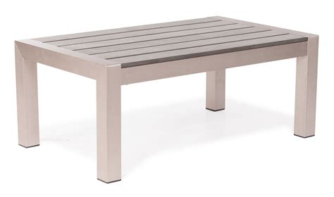 Outdoor Coffee Table Rivera Modern Brushed Aluminum And Faux Wood Outdoor Coffee Table Zuri Furniture
