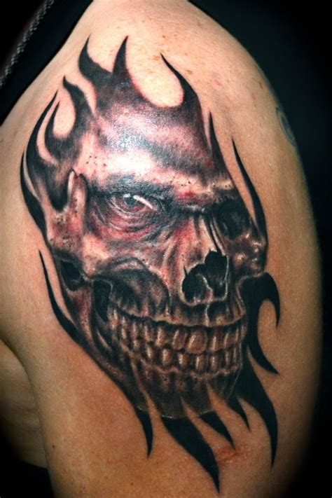 skull and flames tattoo designs cool evil skull tattoos stylendesigns