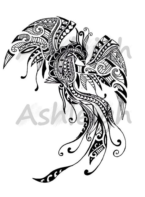 polynesian animal tattoo designs polynesian inspired pheonix by tattoosbyashleigh my