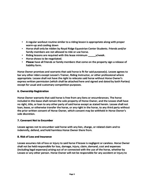 Blank Horse Lease Agreement Free Download Lease Rider Template
