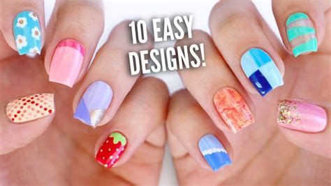 Easy Nail Paint Designs by 10 Dise 241 Os De U 241 As Decoradas F 225 Ciles Para Principiantes