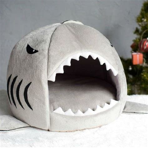Shark Shape Kennel Bed Pink grey shark bed for small cat cave bed removable