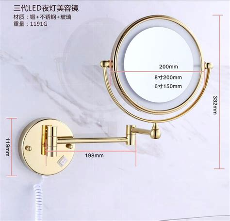 led gold brass cosmetic mirror wall mounted bathroom bath mirror gold wall mounted 8 inch brass 3x 1x