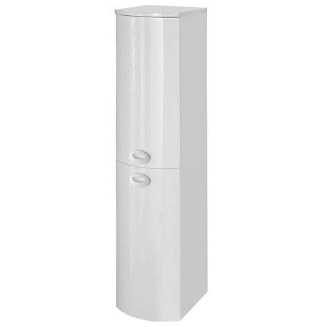 tall white gloss bathroom cabinet orion modern curved white gloss vanity unit with tall side