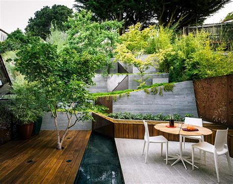 outdoor sitting multi layered japanese style garden and sitting area