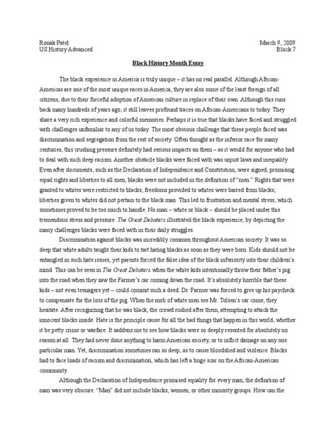 History Essays by Black History Essays Docoments Ojazlink
