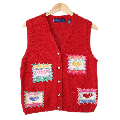 valentines day sweaters patchwork hearts valentines day tacky sweater vest
