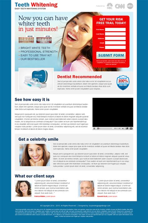 Teeth Whitening In Minutes Kit Red Lead Capture Very Effective Landing Page Design Free Lead Capture Page Templates