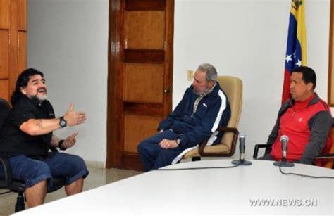 Supermodel Cbell Visits Chavez by Maradona Visits Hugo Chavez Fidel Castro In Cuba