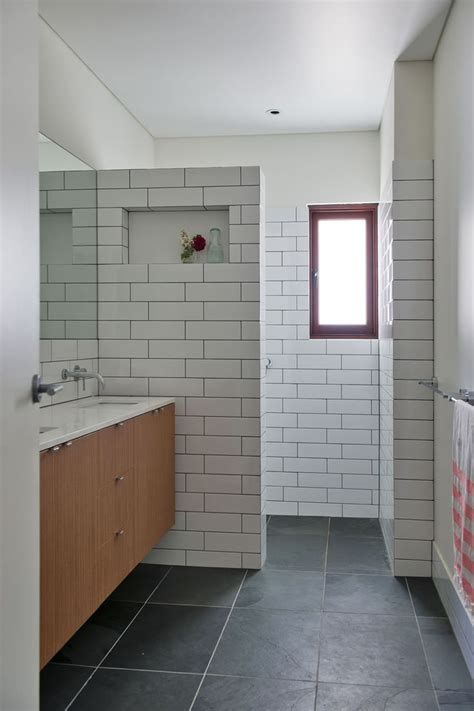 subway tile bathroom charcoal floor long white subway tiles dark grout