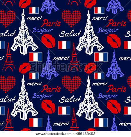 travel pattern in french paris seamless pattern eiffel tower lips stock vector