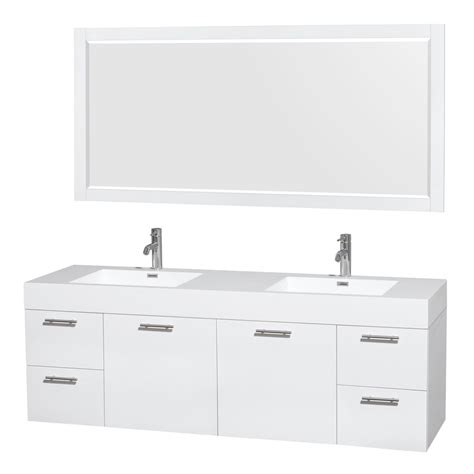 white 72 double sink bathroom vanity shop wyndham collection amare white integrated double sink