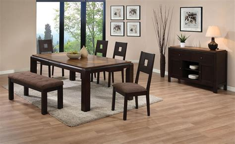 casual dining sets with bench zenda walnut finish casual dining table set padded bench 6pc